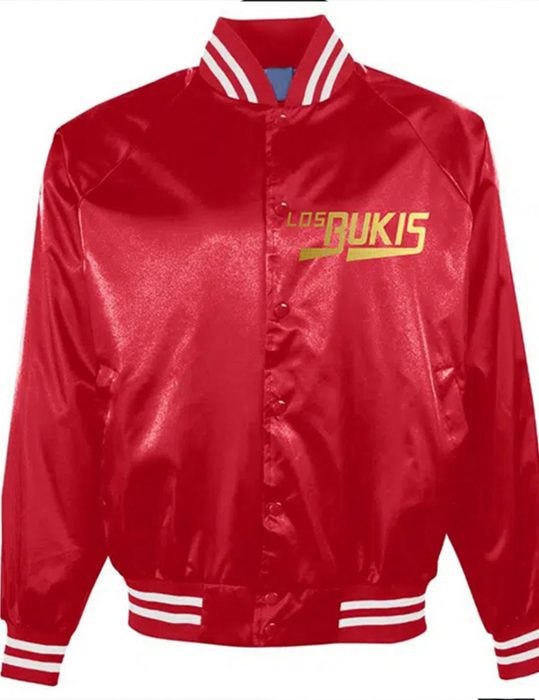Los Bukis Red Satin Bomber Jacket